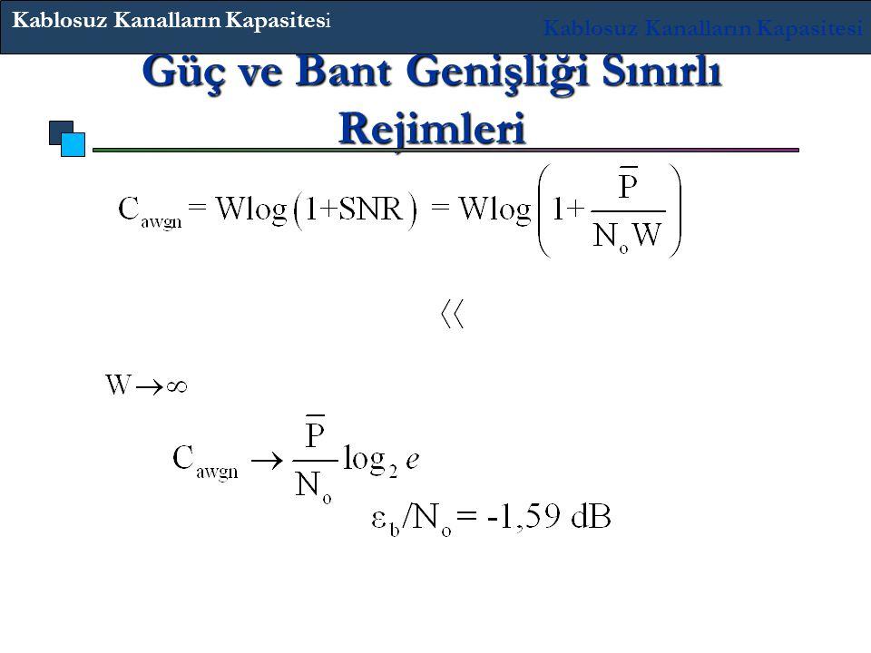 Güç ve Bant Genişliği Sınırlı Rejimleri Bant Genişliği sınırlı rejimi SNR 1 : kapasite kuvveti doğrusaldır. iken ; bits/s Sonuç olarak, minimum Kablos