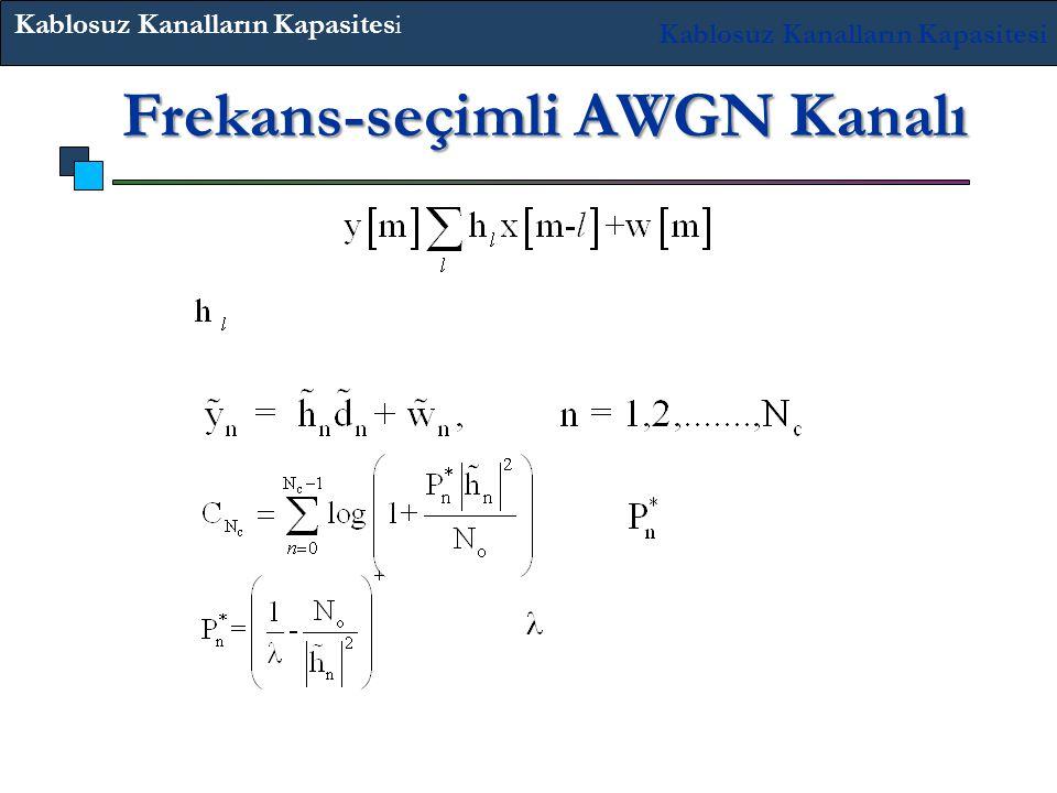 'ler zaman bağımsızdır. OFDM bunu paralel kanallara çevirir: Su dolum dağıtımıdır. Frekans-seçimli AWGN Kanalı Burada güç sınırı olarak seçilmiştir. H