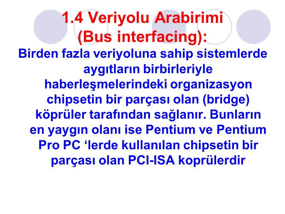 1.4 Veriyolu Arabirimi (Bus interfacing): Birden fazla veriyoluna sahip sistemlerde aygıtların birbirleriyle haberleşmelerindeki organizasyon chipsetin bir parçası olan (bridge) köprüler tarafından sağlanır.
