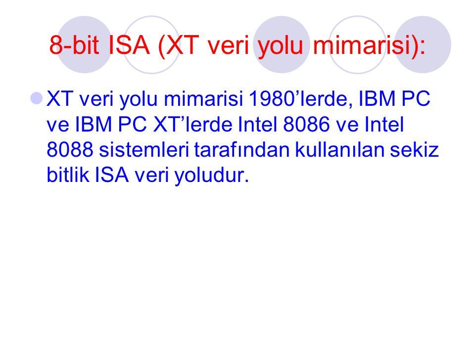 8-bit ISA (XT veri yolu mimarisi): XT veri yolu mimarisi 1980'lerde, IBM PC ve IBM PC XT'lerde Intel 8086 ve Intel 8088 sistemleri tarafından kullanılan sekiz bitlik ISA veri yoludur.