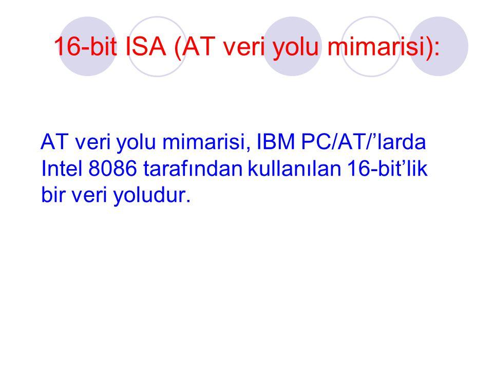 16-bit ISA (AT veri yolu mimarisi): AT veri yolu mimarisi, IBM PC/AT/'larda Intel 8086 tarafından kullanılan 16-bit'lik bir veri yoludur.