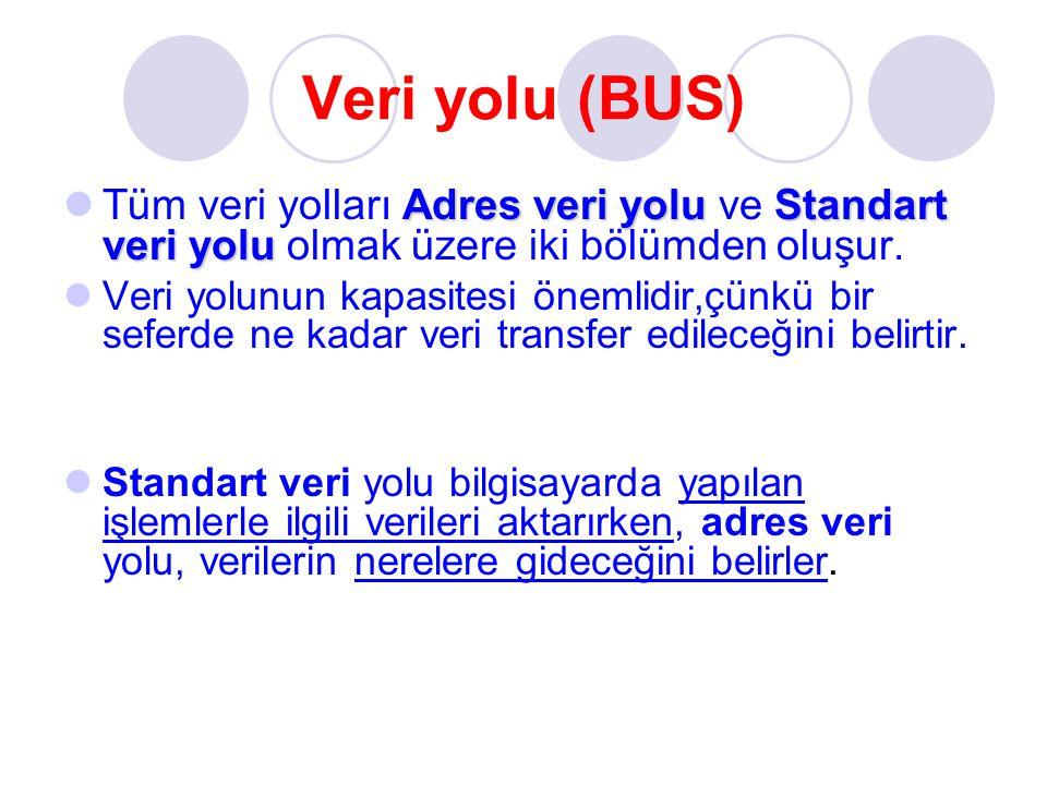 Veri yolu (BUS) Adres veri yoluStandart veri yolu Tüm veri yolları Adres veri yolu ve Standart veri yolu olmak üzere iki bölümden oluşur. Veri yolunun