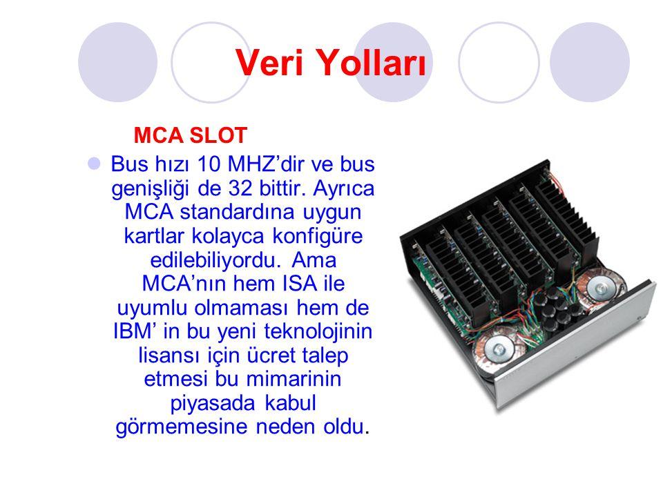 Veri Yolları Bus hızı 10 MHZ'dir ve bus genişliği de 32 bittir. Ayrıca MCA standardına uygun kartlar kolayca konfigüre edilebiliyordu. Ama MCA'nın hem