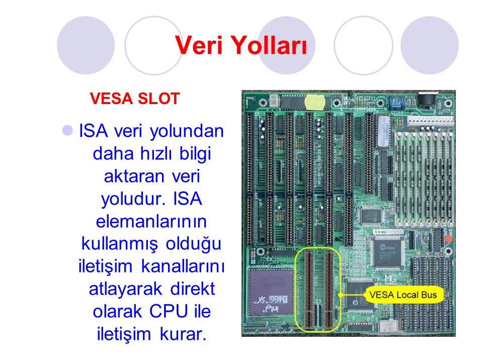 Veri Yolları ISA veri yolundan daha hızlı bilgi aktaran veri yoludur. ISA elemanlarının kullanmış olduğu iletişim kanallarını atlayarak direkt olarak