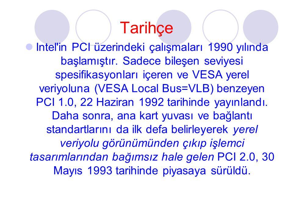 Tarihçe Intel'in PCI üzerindeki çalışmaları 1990 yılında başlamıştır. Sadece bileşen seviyesi spesifikasyonları içeren ve VESA yerel veriyoluna (VESA