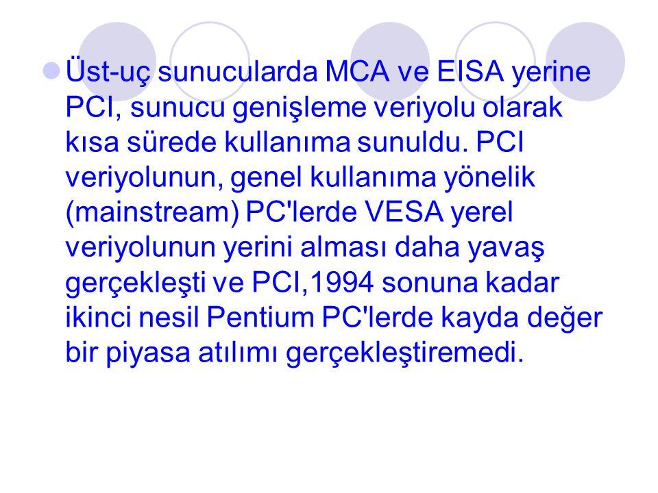 Üst-uç sunucularda MCA ve EISA yerine PCI, sunucu genişleme veriyolu olarak kısa sürede kullanıma sunuldu. PCI veriyolunun, genel kullanıma yönelik (m