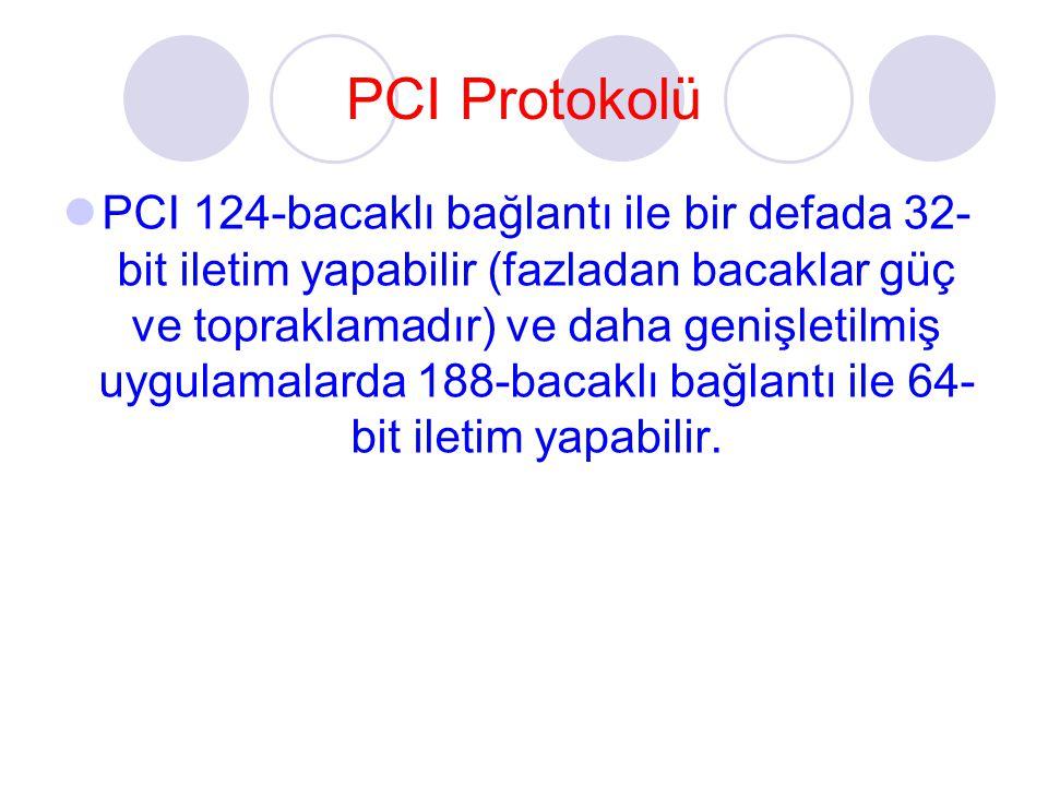 PCI Protokolü PCI 124-bacaklı bağlantı ile bir defada 32- bit iletim yapabilir (fazladan bacaklar güç ve topraklamadır) ve daha genişletilmiş uygulamalarda 188-bacaklı bağlantı ile 64- bit iletim yapabilir.