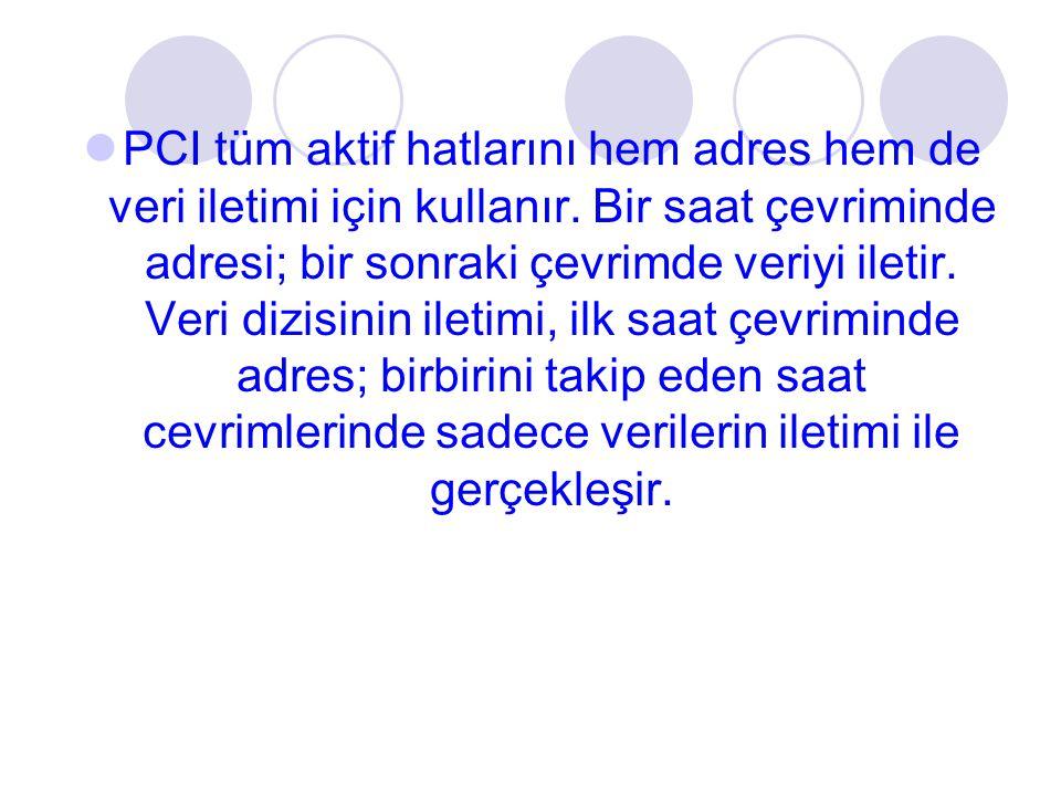 PCI tüm aktif hatlarını hem adres hem de veri iletimi için kullanır. Bir saat çevriminde adresi; bir sonraki çevrimde veriyi iletir. Veri dizisinin il