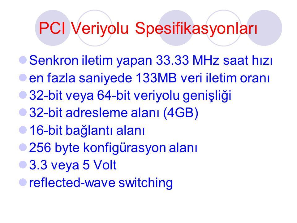 PCI Veriyolu Spesifikasyonları Senkron iletim yapan 33.33 MHz saat hızı en fazla saniyede 133MB veri iletim oranı 32-bit veya 64-bit veriyolu genişliği 32-bit adresleme alanı (4GB) 16-bit bağlantı alanı 256 byte konfigürasyon alanı 3.3 veya 5 Volt reflected-wave switching