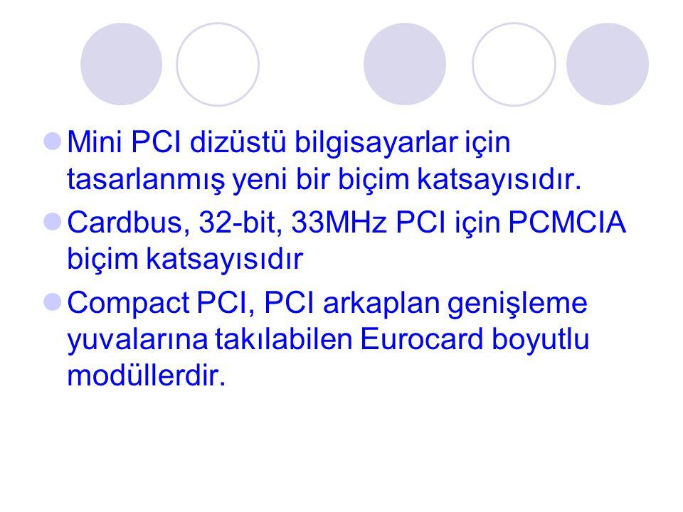 Mini PCI dizüstü bilgisayarlar için tasarlanmış yeni bir biçim katsayısıdır. Cardbus, 32-bit, 33MHz PCI için PCMCIA biçim katsayısıdır Compact PCI, PC