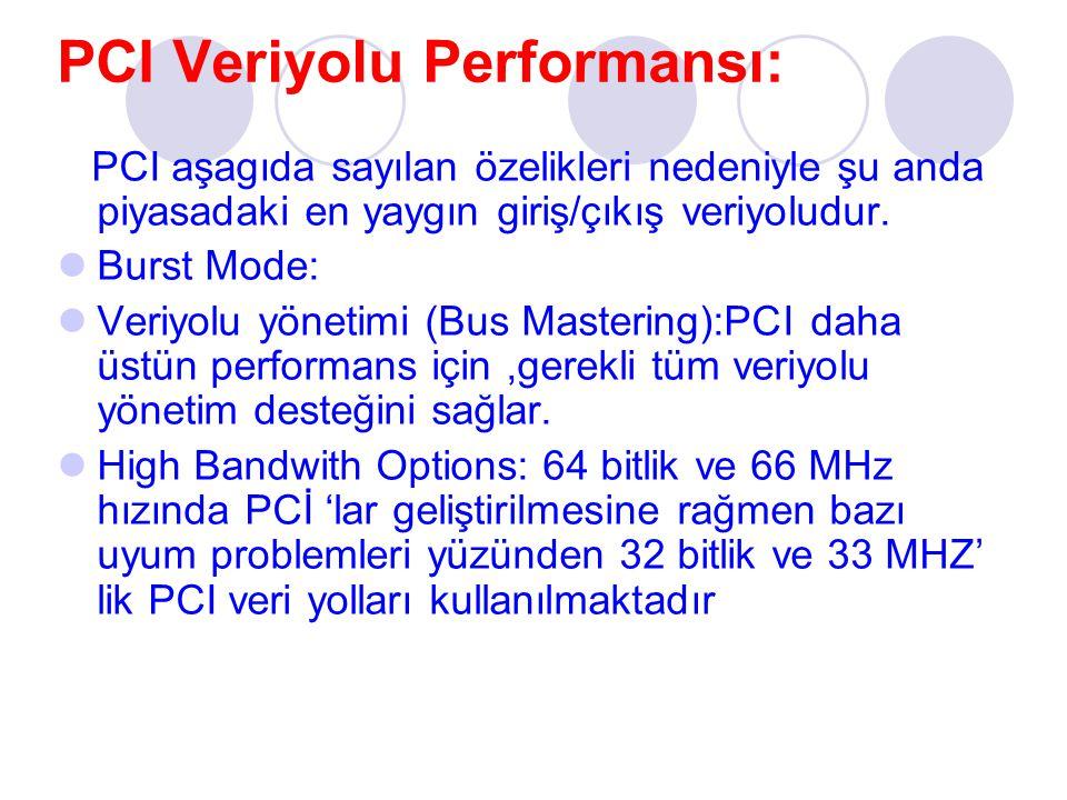 PCI Veriyolu Performansı: PCI aşagıda sayılan özelikleri nedeniyle şu anda piyasadaki en yaygın giriş/çıkış veriyoludur. Burst Mode: Veriyolu yönetimi