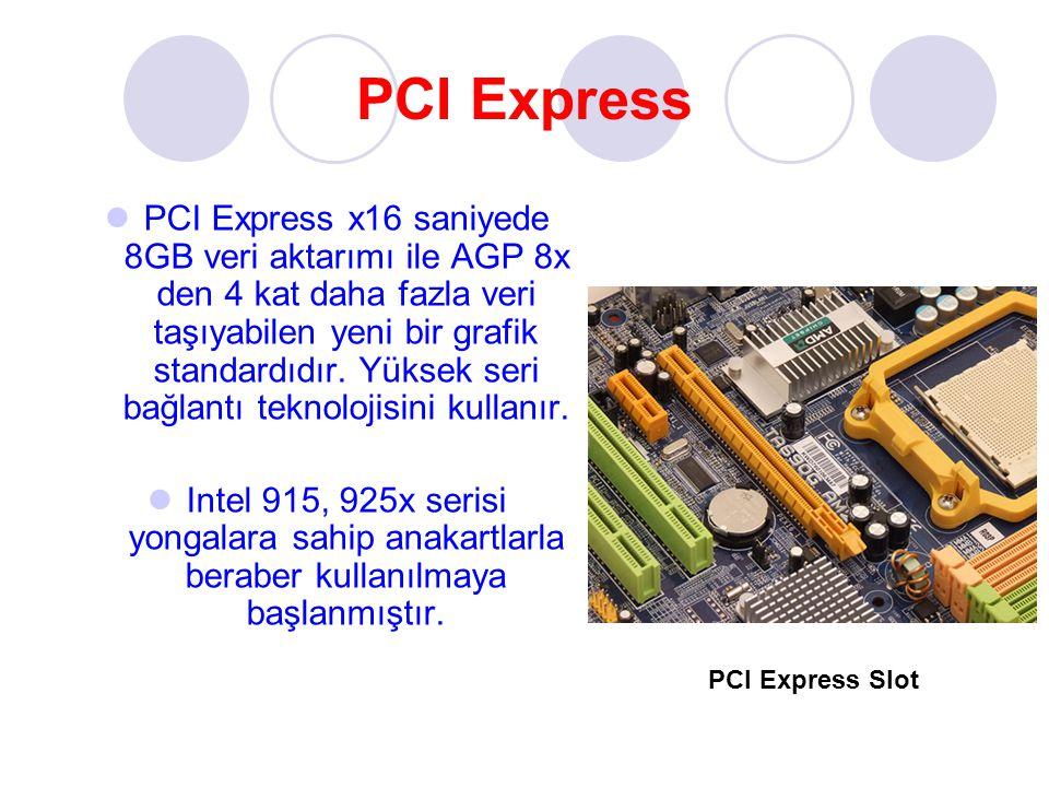 PCI Express PCI Express x16 saniyede 8GB veri aktarımı ile AGP 8x den 4 kat daha fazla veri taşıyabilen yeni bir grafik standardıdır. Yüksek seri bağl