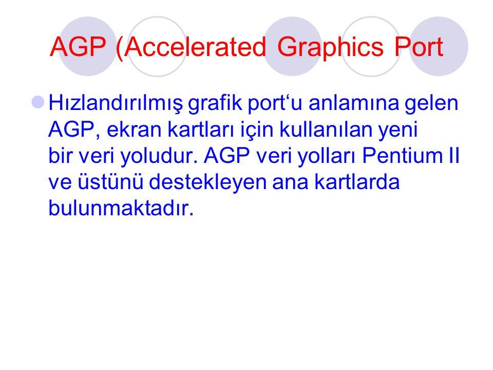 AGP (Accelerated Graphics Port Hızlandırılmış grafik port'u anlamına gelen AGP, ekran kartları için kullanılan yeni bir veri yoludur. AGP veri yolları