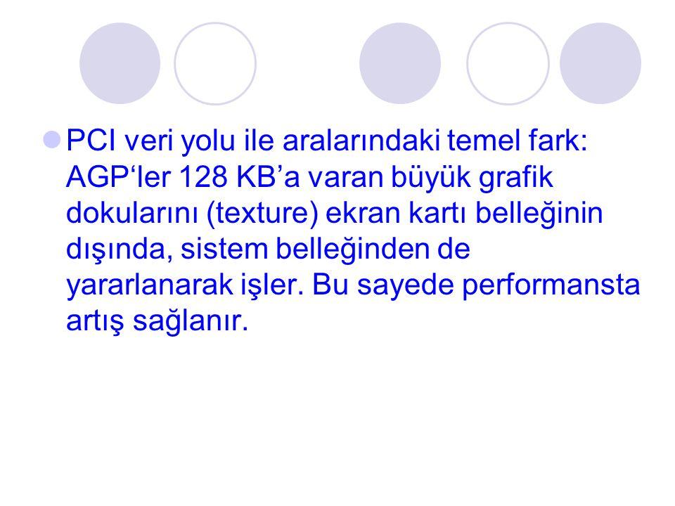 PCI veri yolu ile aralarındaki temel fark: AGP'ler 128 KB'a varan büyük grafik dokularını (texture) ekran kartı belleğinin dışında, sistem belleğinden