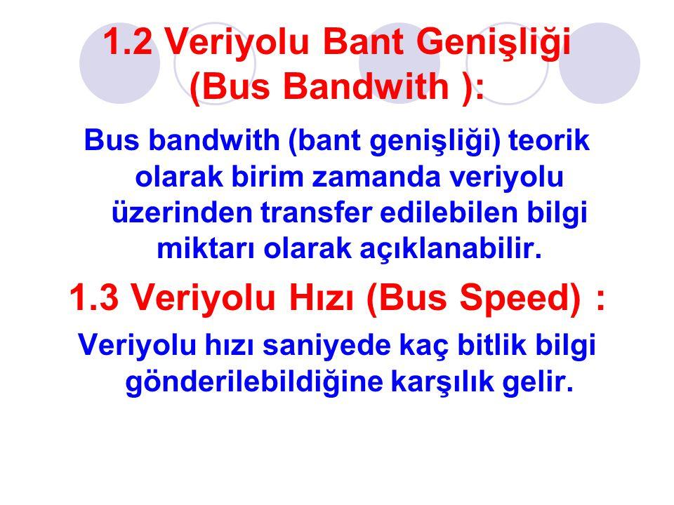 1.2 Veriyolu Bant Genişliği (Bus Bandwith ): Bus bandwith (bant genişliği) teorik olarak birim zamanda veriyolu üzerinden transfer edilebilen bilgi miktarı olarak açıklanabilir.