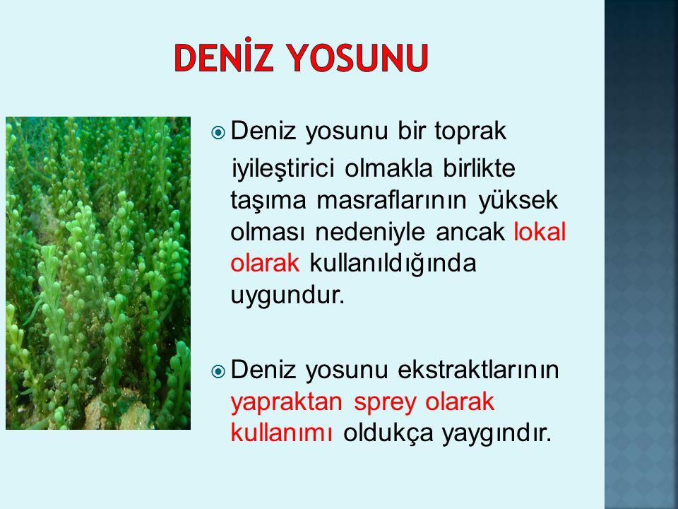  Deniz yosunu bir toprak iyileştirici olmakla birlikte taşıma masraflarının yüksek olması nedeniyle ancak lokal olarak kullanıldığında uygundur.  De