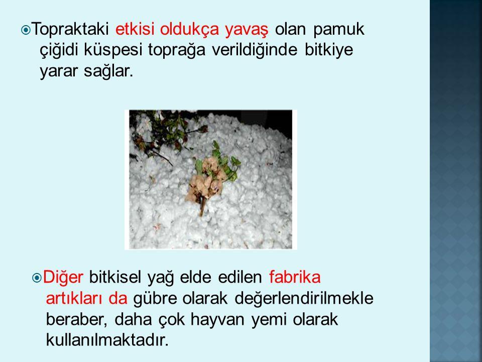  Topraktaki etkisi oldukça yavaş olan pamuk çiğidi küspesi toprağa verildiğinde bitkiye yarar sağlar.  Diğer bitkisel yağ elde edilen fabrika artıkl