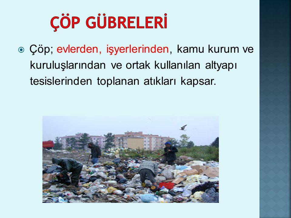  Çöp; evlerden, işyerlerinden, kamu kurum ve kuruluşlarından ve ortak kullanılan altyapı tesislerinden toplanan atıkları kapsar.