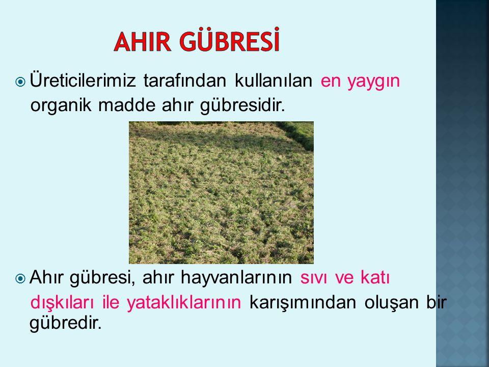 SığırAtEşekKoyun TON5.73.31.60.5  Ülkemizde ahır gübresinin %50 si tezek olarak kullanılır,%15 i toprağa verilir,geri kalanı ise değerlendirilmez.