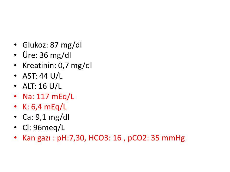 Glukoz: 87 mg/dl Üre: 36 mg/dl Kreatinin: 0,7 mg/dl AST: 44 U/L ALT: 16 U/L Na: 117 mEq/L K: 6,4 mEq/L Ca: 9,1 mg/dl Cl: 96meq/L Kan gazı : pH:7,30, HCO3: 16, pCO2: 35 mmHg
