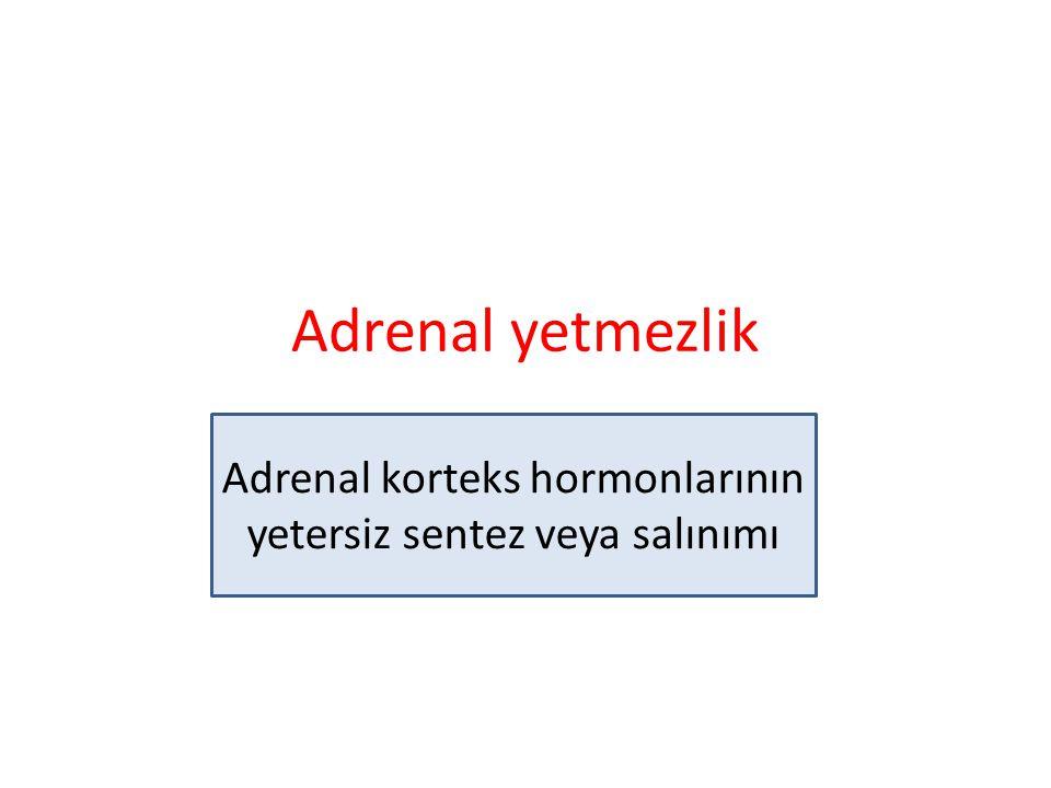 Adrenal yetmezlik Adrenal korteks hormonlarının yetersiz sentez veya salınımı