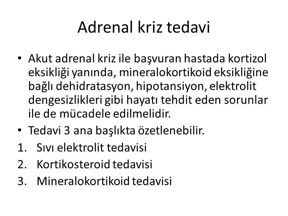Adrenal kriz tedavi Akut adrenal kriz ile başvuran hastada kortizol eksikliği yanında, mineralokortikoid eksikliğine bağlı dehidratasyon, hipotansiyon