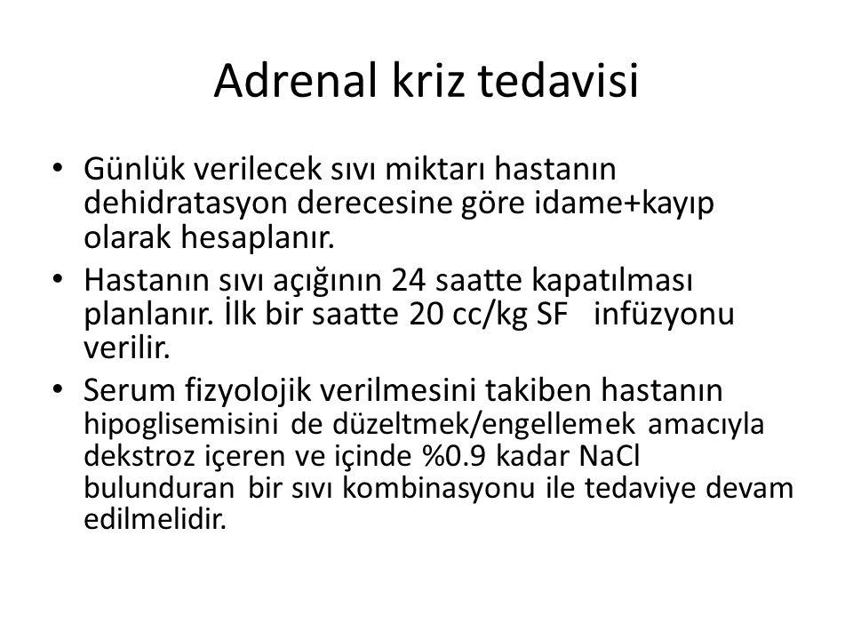 Adrenal kriz tedavisi Günlük verilecek sıvı miktarı hastanın dehidratasyon derecesine göre idame+kayıp olarak hesaplanır. Hastanın sıvı açığının 24 sa