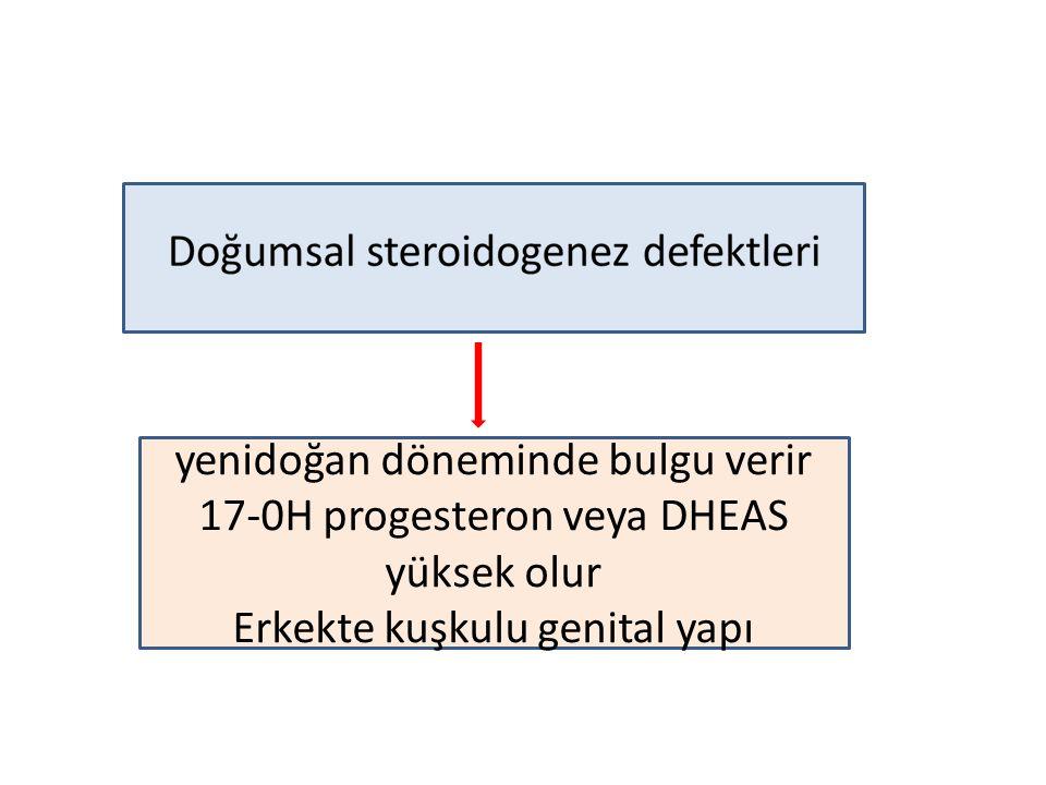 yenidoğan döneminde bulgu verir 17-0H progesteron veya DHEAS yüksek olur Erkekte kuşkulu genital yapı