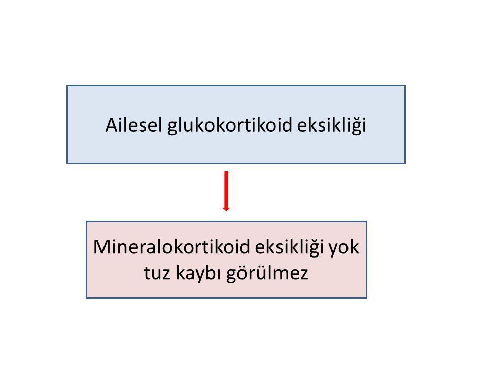 Ailesel glukokortikoid eksikliği Mineralokortikoid eksikliği yok tuz kaybı görülmez