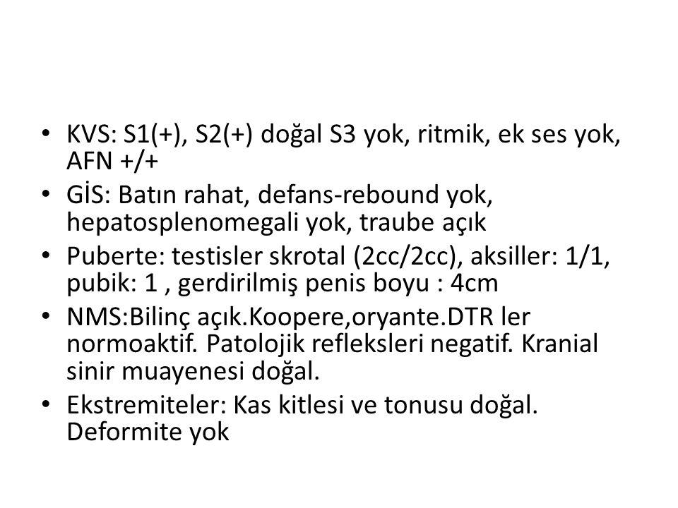 KVS: S1(+), S2(+) doğal S3 yok, ritmik, ek ses yok, AFN +/+ GİS: Batın rahat, defans-rebound yok, hepatosplenomegali yok, traube açık Puberte: testisl