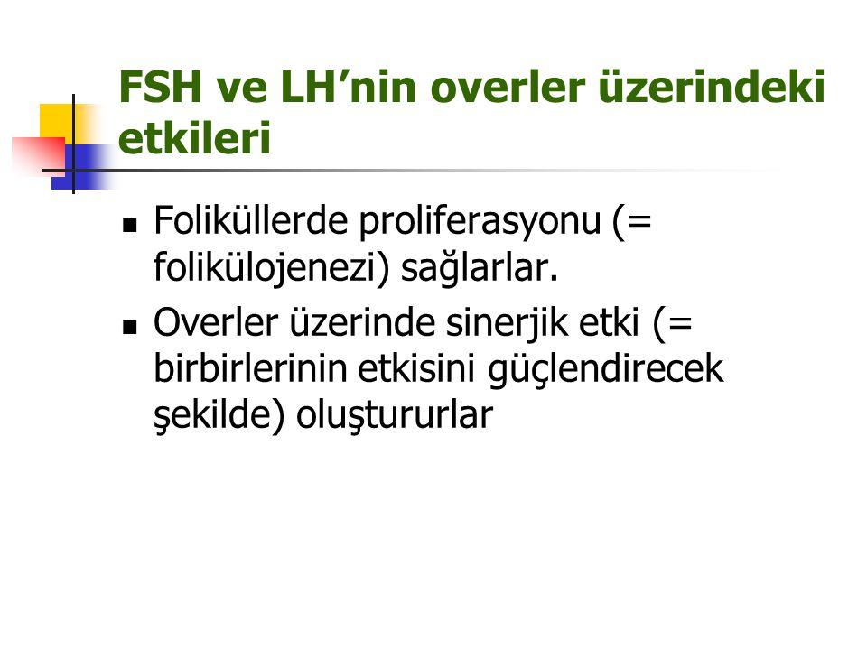 FSH ve LH'nin overler üzerindeki etkileri Foliküllerde proliferasyonu (= folikülojenezi) sağlarlar. Overler üzerinde sinerjik etki (= birbirlerinin et