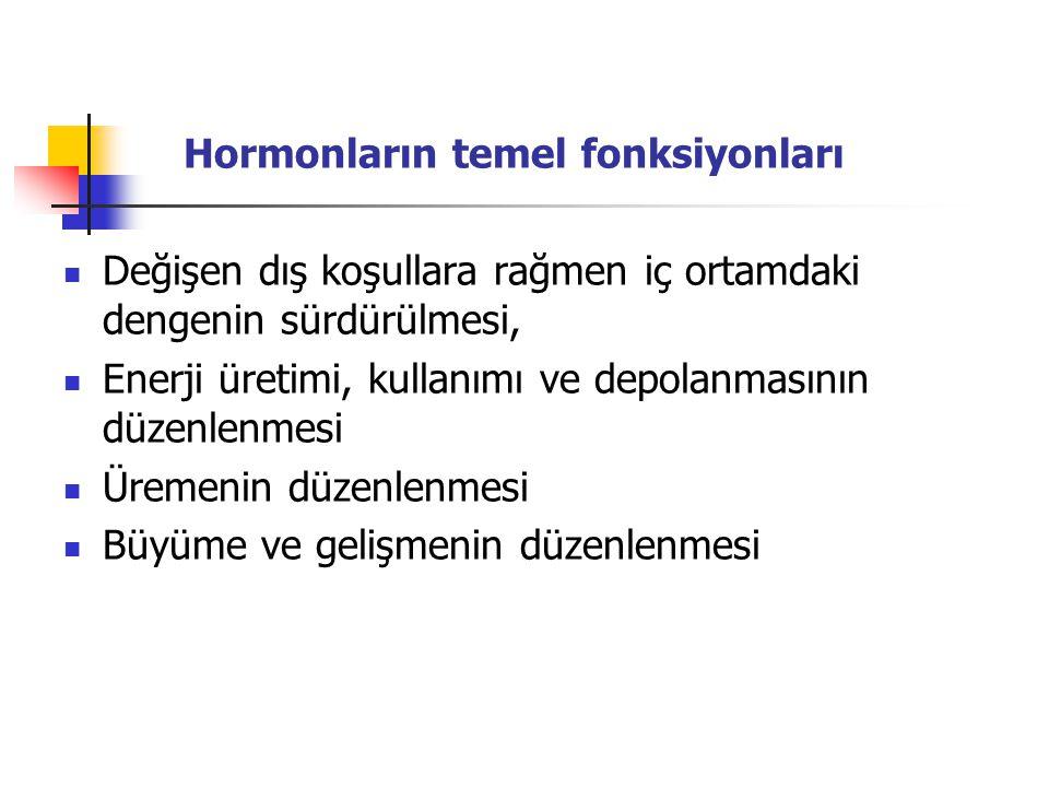 Hormonların temel fonksiyonları Değişen dış koşullara rağmen iç ortamdaki dengenin sürdürülmesi, Enerji üretimi, kullanımı ve depolanmasının düzenlenm