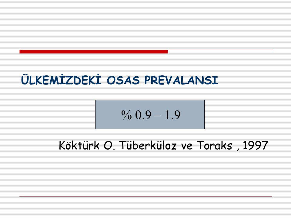 ÜLKEMİZDEKİ OSAS PREVALANSI Köktürk O. Tüberküloz ve Toraks, 1997 % 0.9 – 1.9