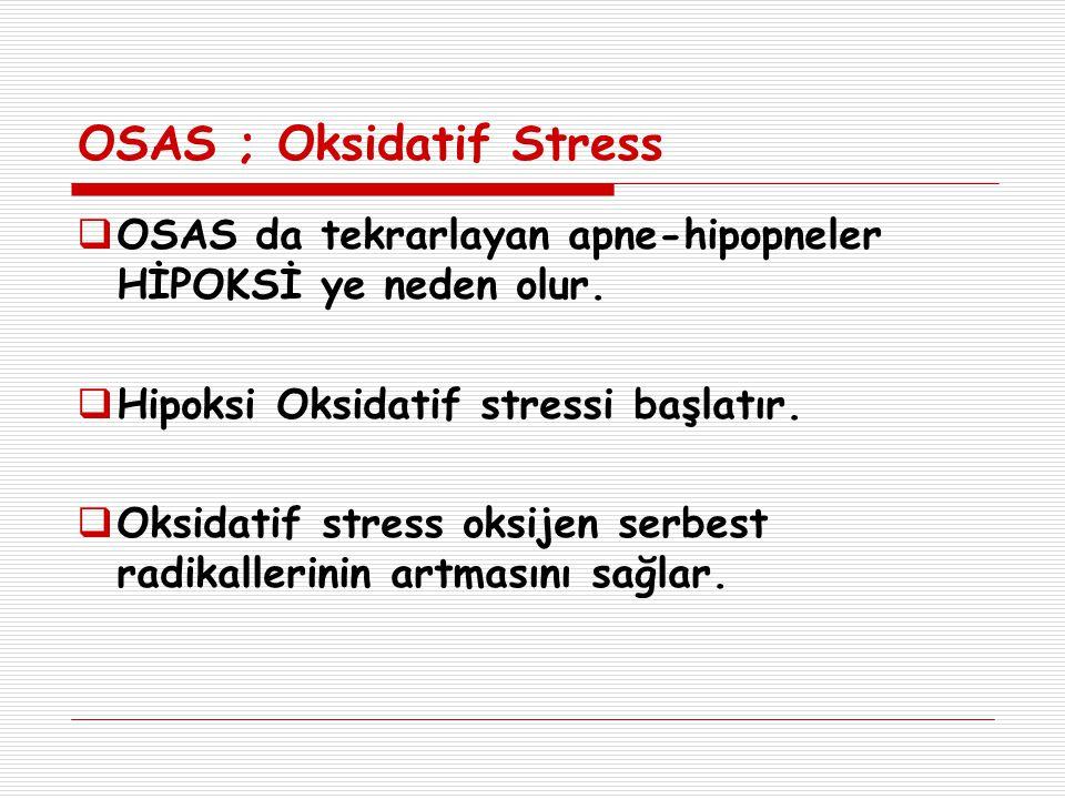 OSAS ; Oksidatif Stress  OSAS da tekrarlayan apne-hipopneler HİPOKSİ ye neden olur.