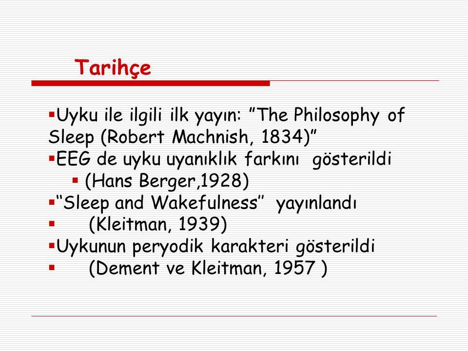 Tarihçe  Uyku ile ilgili ilk yayın: The Philosophy of Sleep (Robert Machnish, 1834)  EEG de uyku uyanıklık farkını gösterildi  (Hans Berger,1928)  ''Sleep and Wakefulness'' yayınlandı  (Kleitman, 1939)  Uykunun peryodik karakteri gösterildi  (Dement ve Kleitman, 1957 )