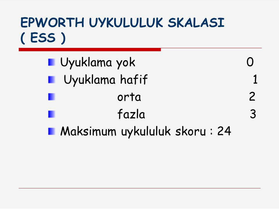 EPWORTH UYKULULUK SKALASI ( ESS ) Uyuklama yok 0 Uyuklama hafif 1 orta 2 fazla 3 Maksimum uykululuk skoru : 24