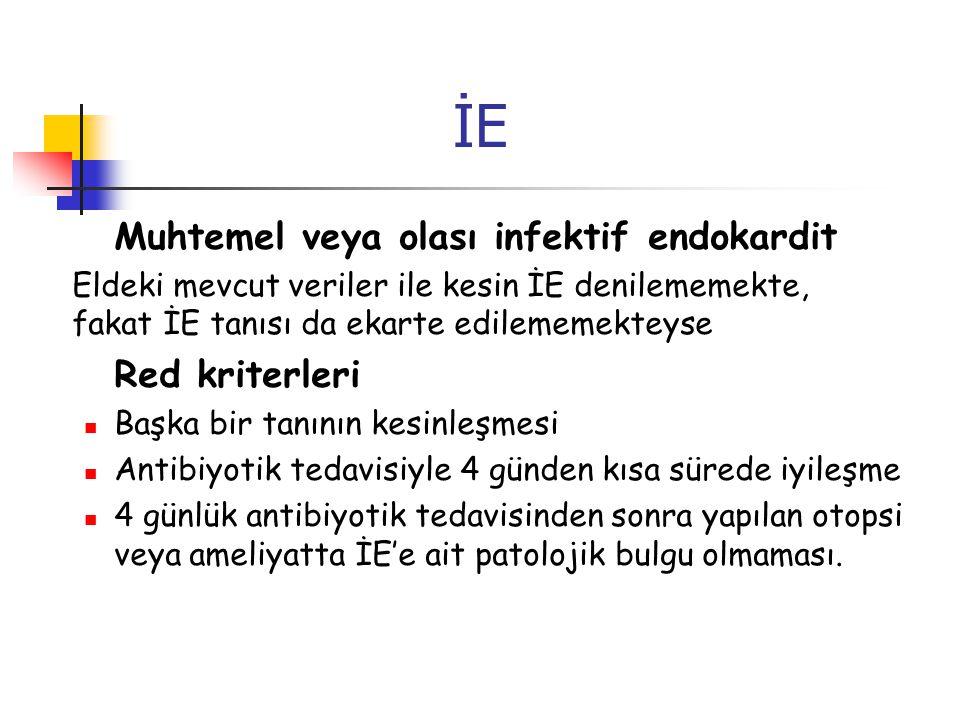 İE Muhtemel veya olası infektif endokardit Eldeki mevcut veriler ile kesin İE denilememekte, fakat İE tanısı da ekarte edilememekteyse Red kriterleri
