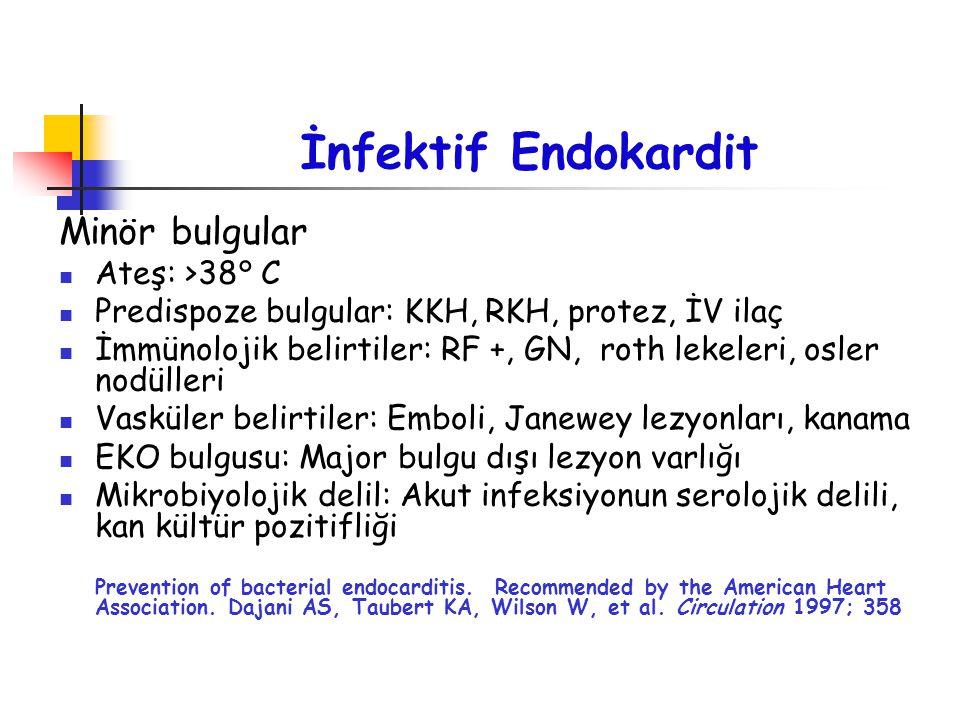 İnfektif Endokardit Minör bulgular Ateş: >38° C Predispoze bulgular: KKH, RKH, protez, İV ilaç İmmünolojik belirtiler: RF +, GN, roth lekeleri, osler