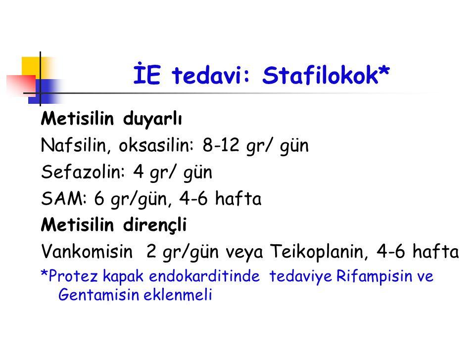 İE tedavi: Stafilokok* Metisilin duyarlı Nafsilin, oksasilin: 8-12 gr/ gün Sefazolin: 4 gr/ gün SAM: 6 gr/gün, 4-6 hafta Metisilin dirençli Vankomisin