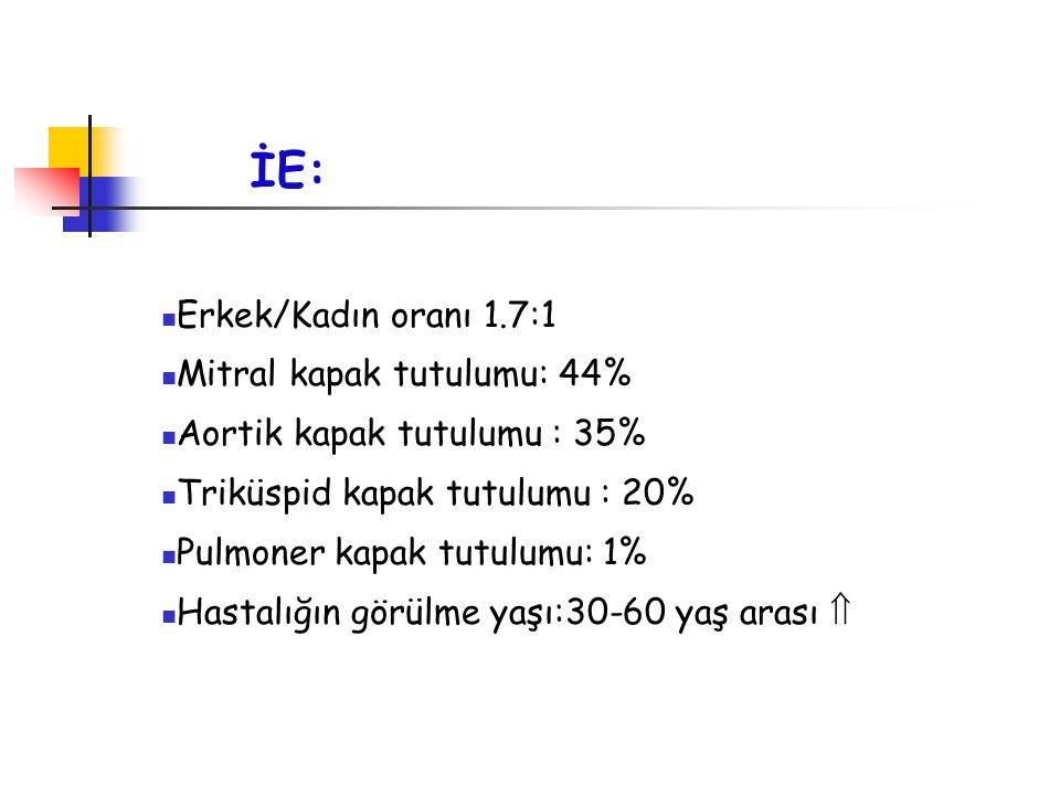 İE: Erkek/Kadın oranı 1.7:1 Mitral kapak tutulumu: 44% Aortik kapak tutulumu : 35% Triküspid kapak tutulumu : 20% Pulmoner kapak tutulumu: 1% Hastalığ