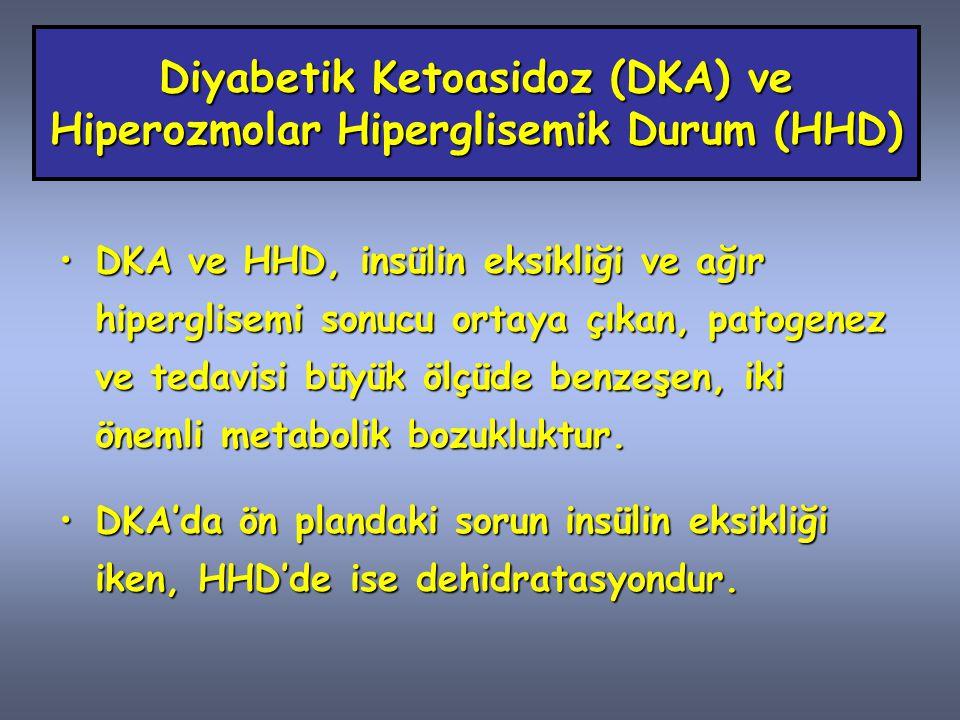 Diyabetik Ketoasidoz (DKA) Belirtiler Poliüri,Poliüri, Polidipsi,Polidipsi, Polifaji,Polifaji, Kilo kaybı,Kilo kaybı, Bulantı,Bulantı, Karın ağrısı,Karın ağrısı, Halsizlik,Halsizlik, Şuur bulanıklığı ve koma.Şuur bulanıklığı ve koma.