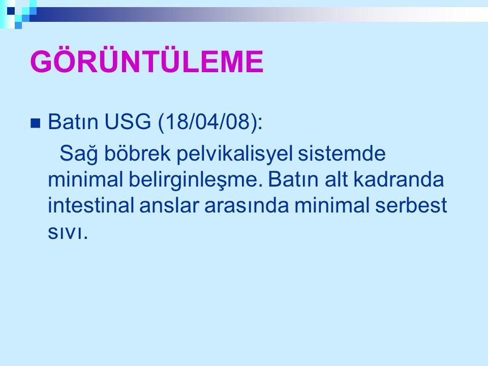 GÖRÜNTÜLEME Batın USG (18/04/08): Sağ böbrek pelvikalisyel sistemde minimal belirginleşme. Batın alt kadranda intestinal anslar arasında minimal serbe