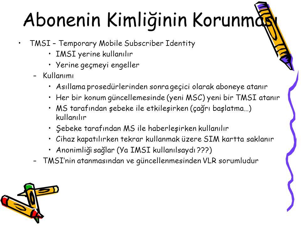Gezgin İstasyon –Gezgin Cihaz (ME) Tanımlayıcılar –IMEI – International Mobile Equipment Identity –Subscriber Identity Module (SIM) Tanımlayıcıları, a