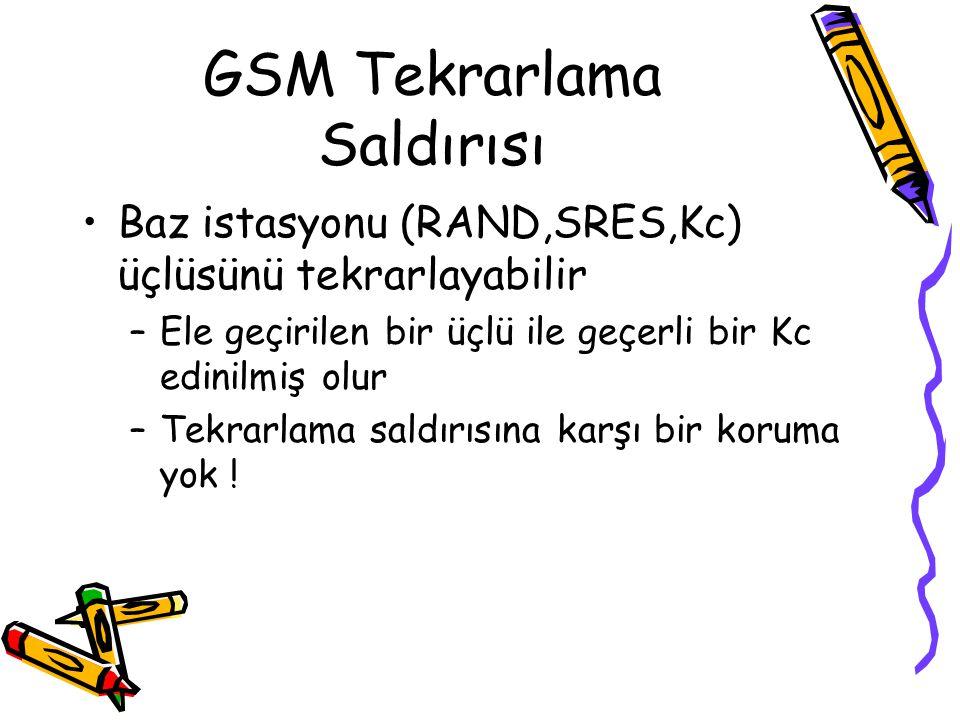 GSM MIM Sahte baz istasyonu iki açıktan yararlanır –MS-BS arası her zaman şifreleme yok (A5/0) –BS asıllanmıyor Abone Base Station RAND SRES Sahte Baz