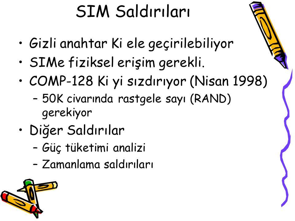 GSM Tekrarlama Saldırısı Baz istasyonu (RAND,SRES,Kc) üçlüsünü tekrarlayabilir –Ele geçirilen bir üçlü ile geçerli bir Kc edinilmiş olur –Tekrarlama s