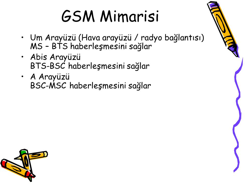 GSM Mimarisi Um Arayüzü (Hava arayüzü / radyo bağlantısı) MS – BTS haberleşmesini sağlar Abis Arayüzü BTS-BSC haberleşmesini sağlar A Arayüzü BSC-MSC haberleşmesini sağlar