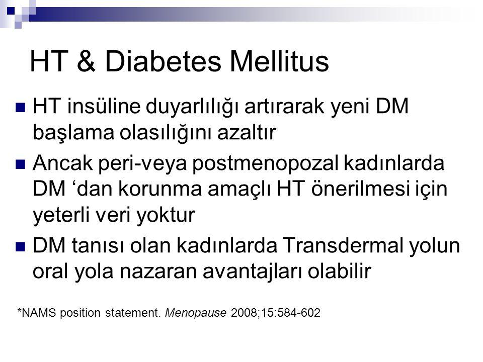 HT & Diabetes Mellitus HT insüline duyarlılığı artırarak yeni DM başlama olasılığını azaltır Ancak peri-veya postmenopozal kadınlarda DM 'dan korunma