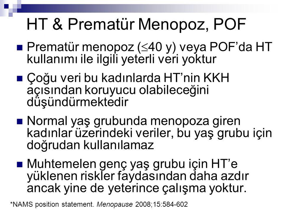 HT & Prematür Menopoz, POF Prematür menopoz (  40 y) veya POF'da HT kullanımı ile ilgili yeterli veri yoktur Çoğu veri bu kadınlarda HT'nin KKH açısı