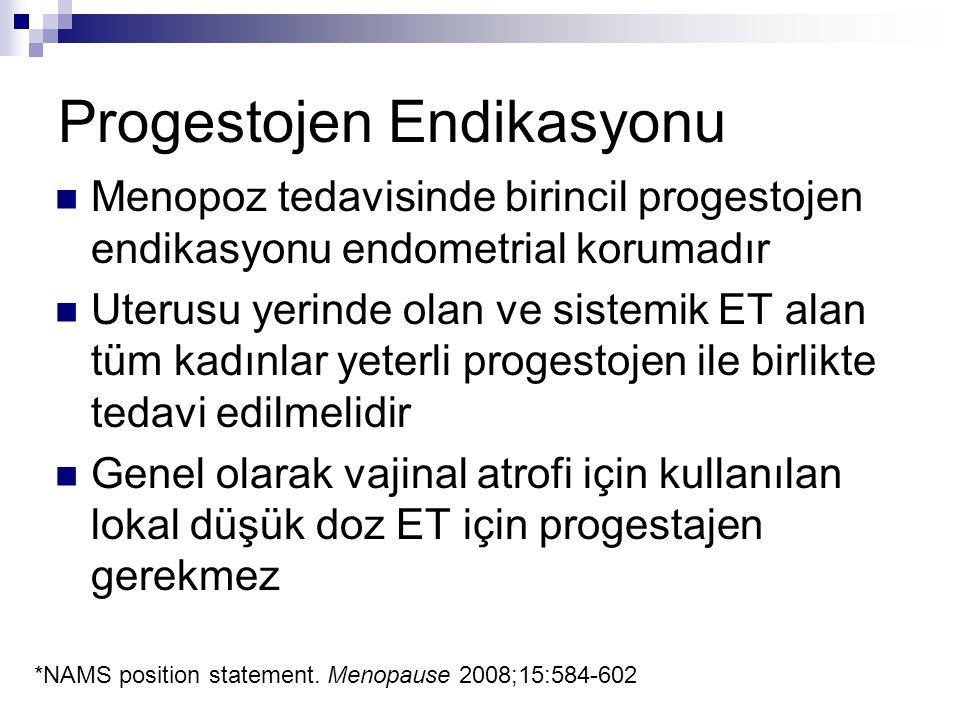 Progestojen Endikasyonu Menopoz tedavisinde birincil progestojen endikasyonu endometrial korumadır Uterusu yerinde olan ve sistemik ET alan tüm kadınl