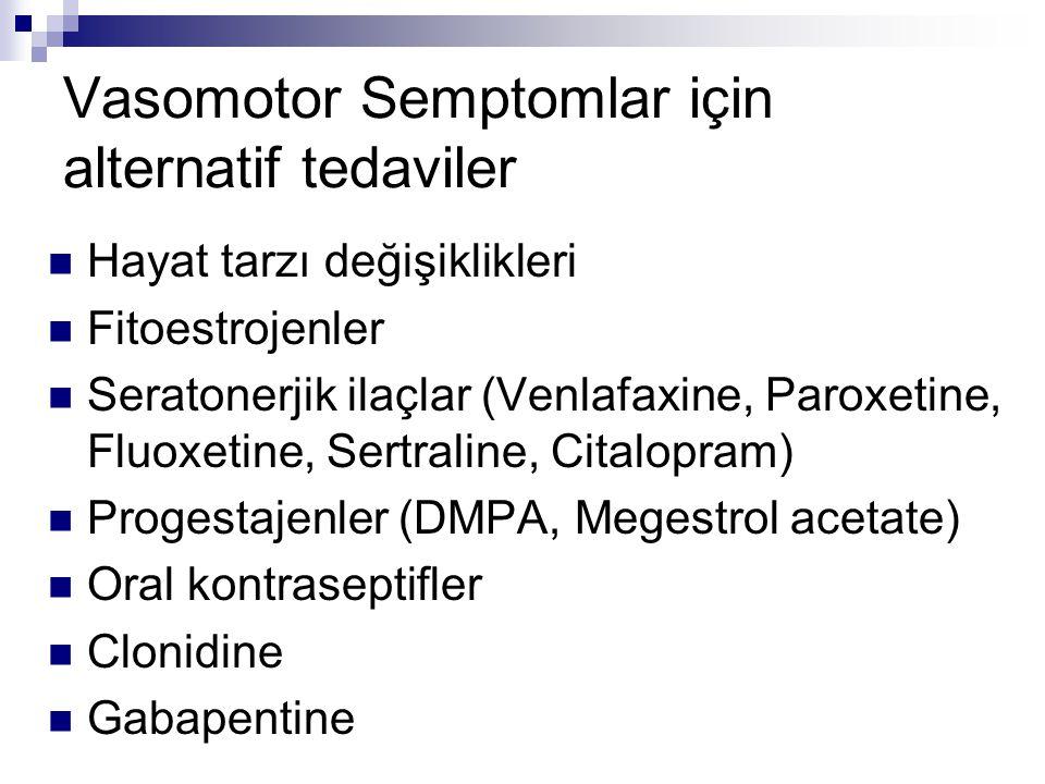 Vasomotor Semptomlar için alternatif tedaviler Hayat tarzı değişiklikleri Fitoestrojenler Seratonerjik ilaçlar (Venlafaxine, Paroxetine, Fluoxetine, S